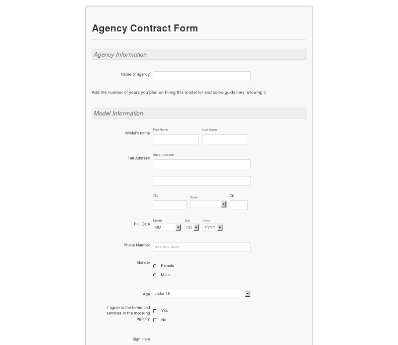 Model Agency Contract Form