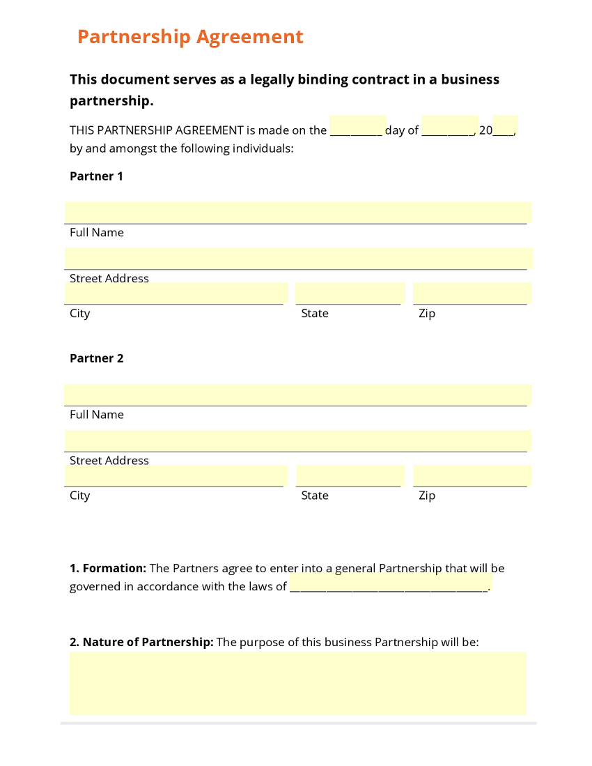 free partnership agreement template - business form template gallery