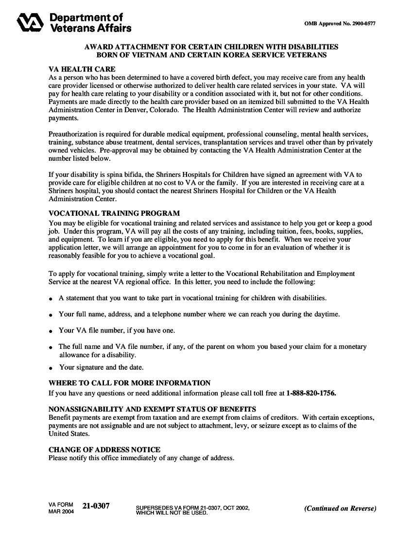 VA Form 21-0307 Template