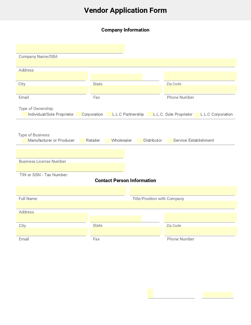 Vendor Application Form Template – New Customer Registration Form Template