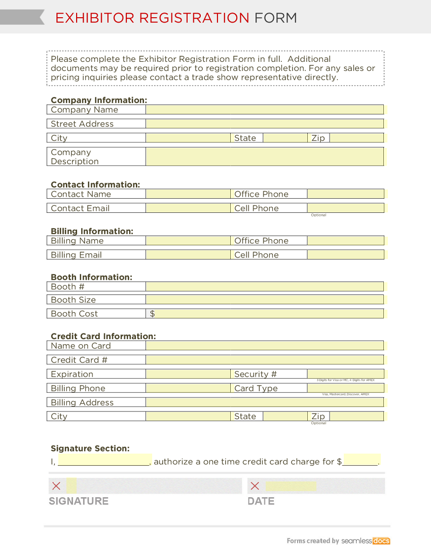 exhibitor registration form template exhibitor registration form