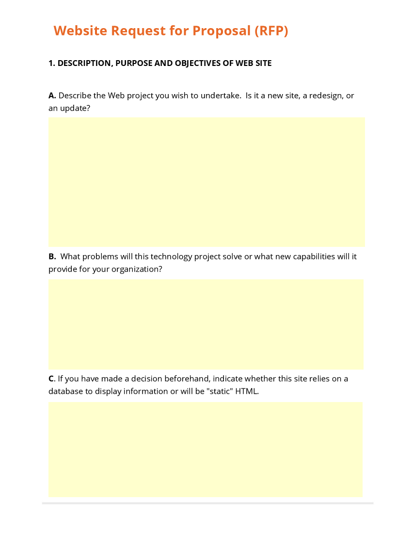 Business form template gallery for Request for bids template
