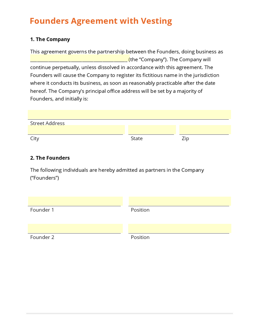 Business form template gallery for Vesting schedule template
