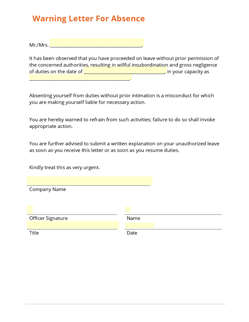 warning letter absence template warning letter absence