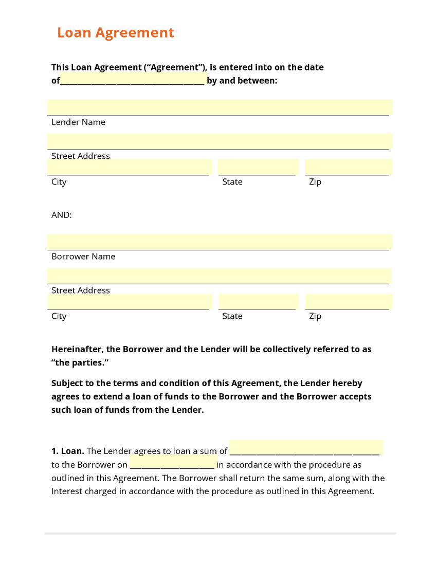 Loan Agreement Template – Company Loan Agreement Template