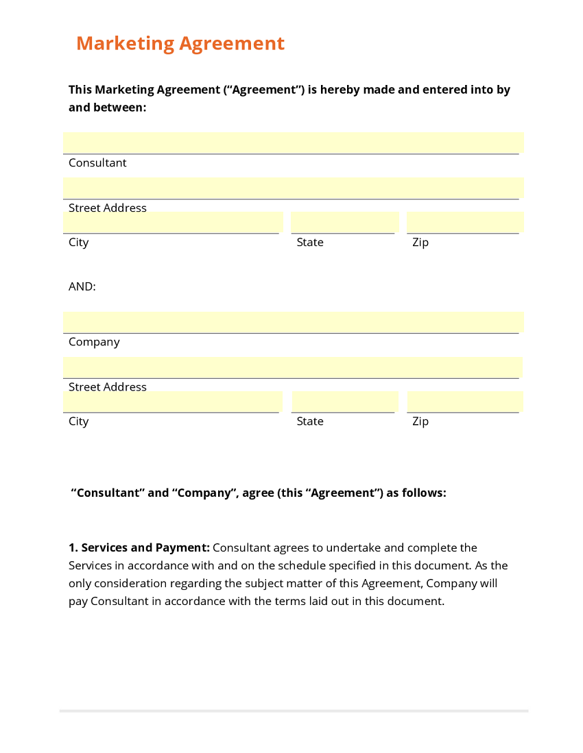 Business form template gallery for Advertising contracts templates