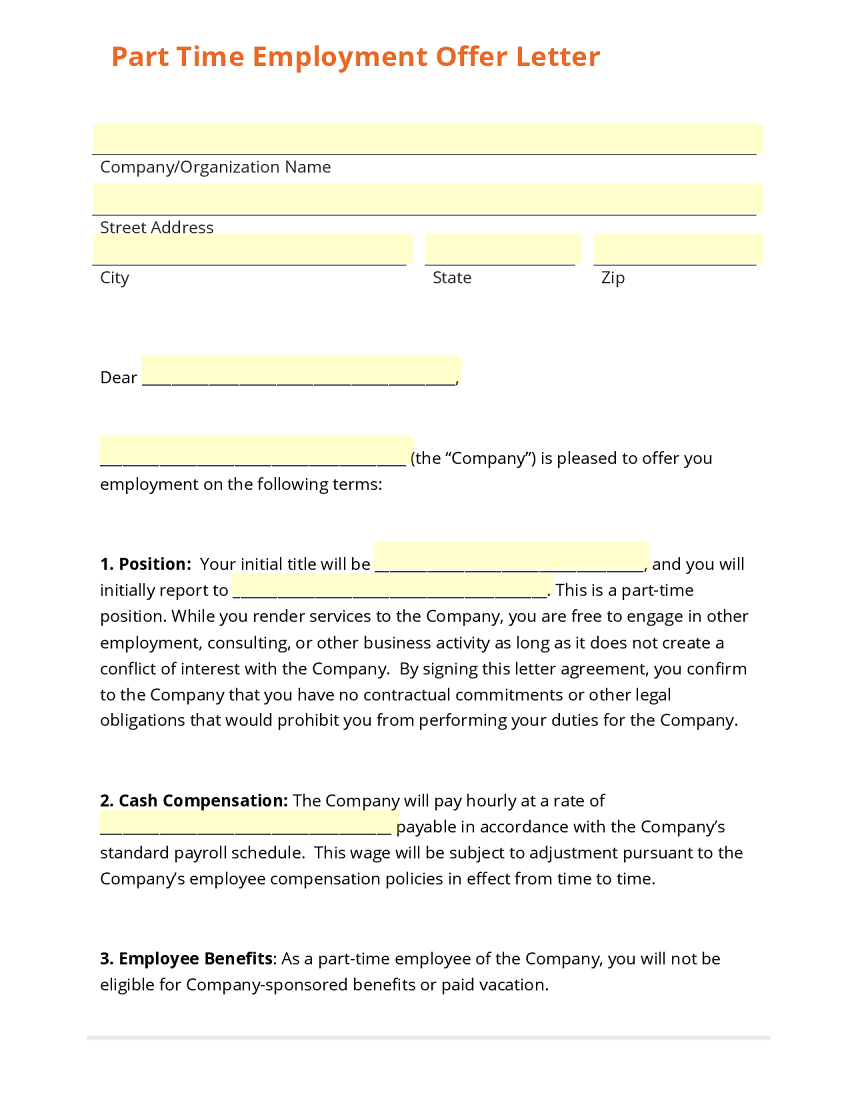 Part Time Employment Offer Letter Template