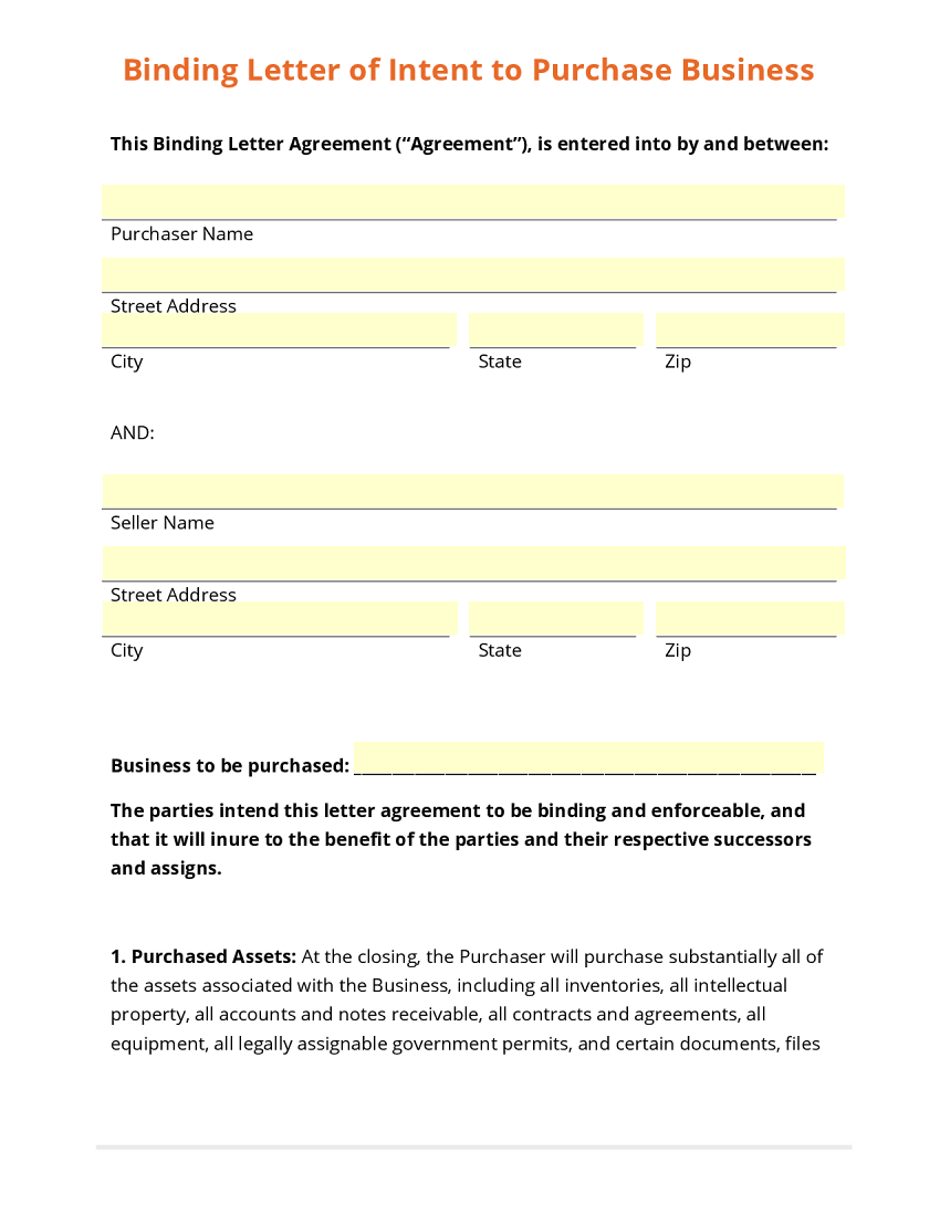 Letter of intent business template – Letter of Intent to Purchase Business Template Free