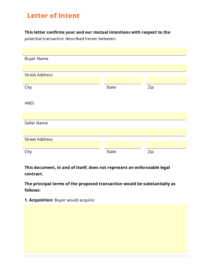 Letter of Intent Buyer Sets up Document Template – Letter of Intent Templates