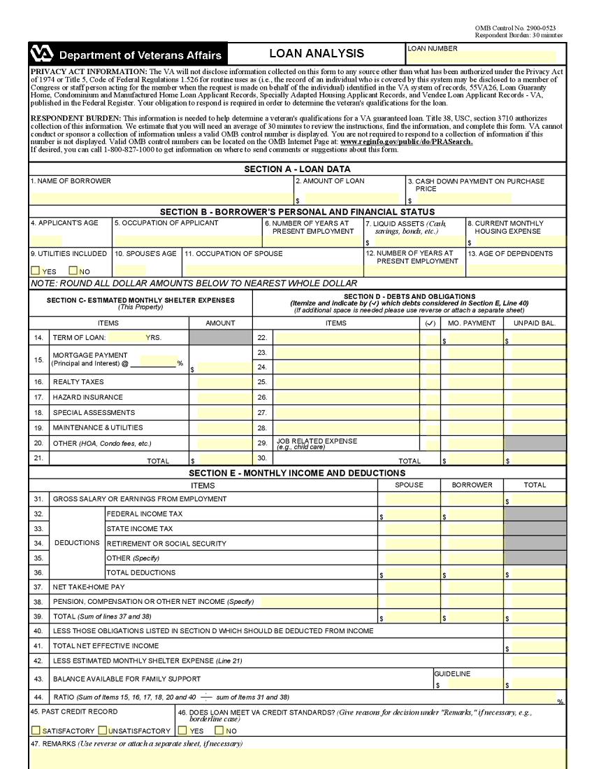 VA Form 26-6393 Template