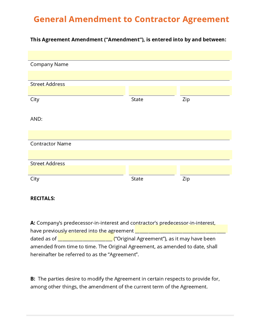 Amendment to Contractor Agreement Template