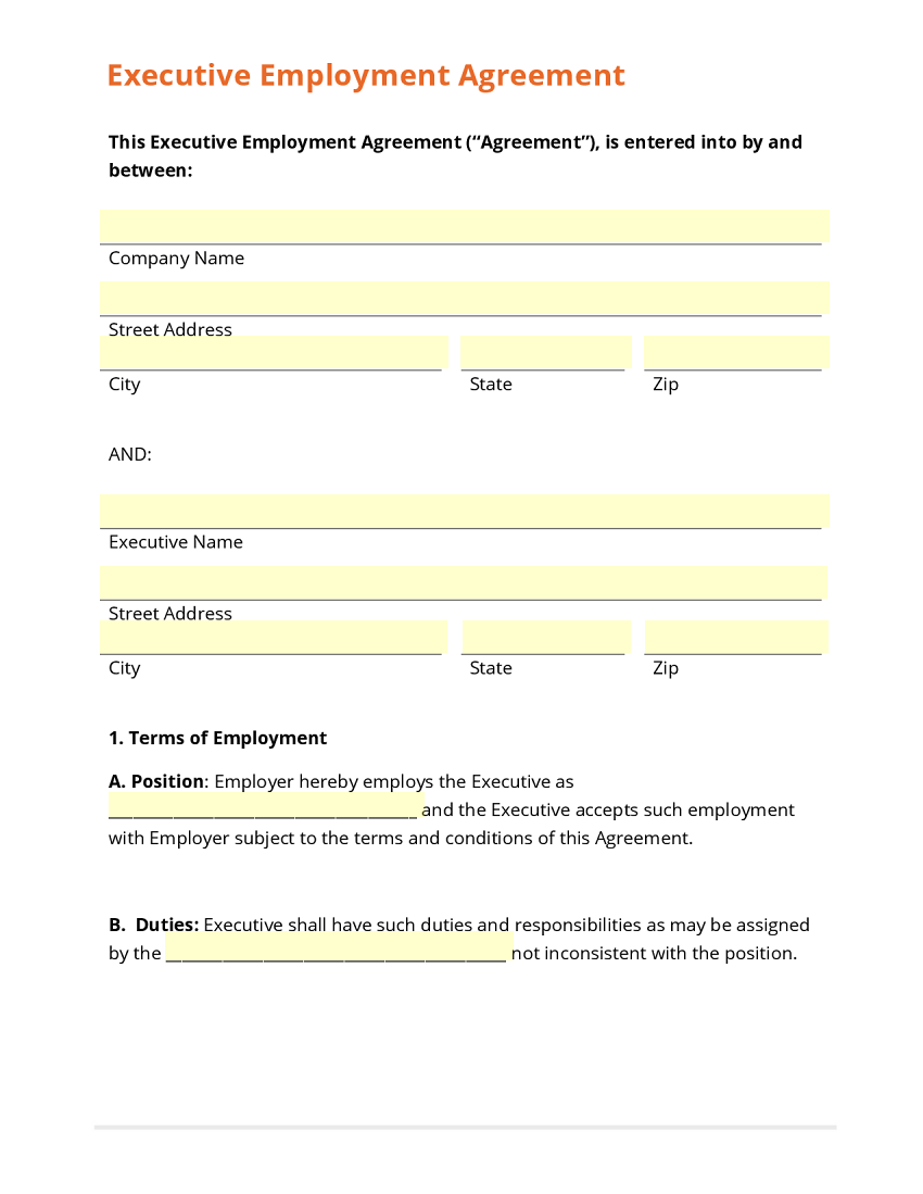 Executive Employment Agreement Template – Executive Agreement Template