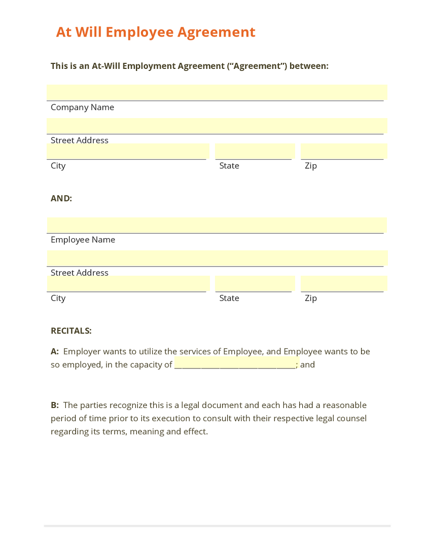 Employee Agreement At Will Template