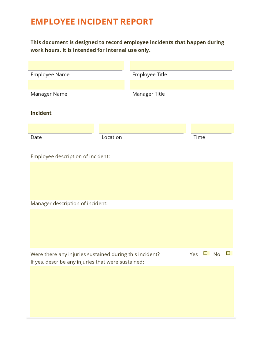 Employee Incident Report Template  Injury Incident Report Template