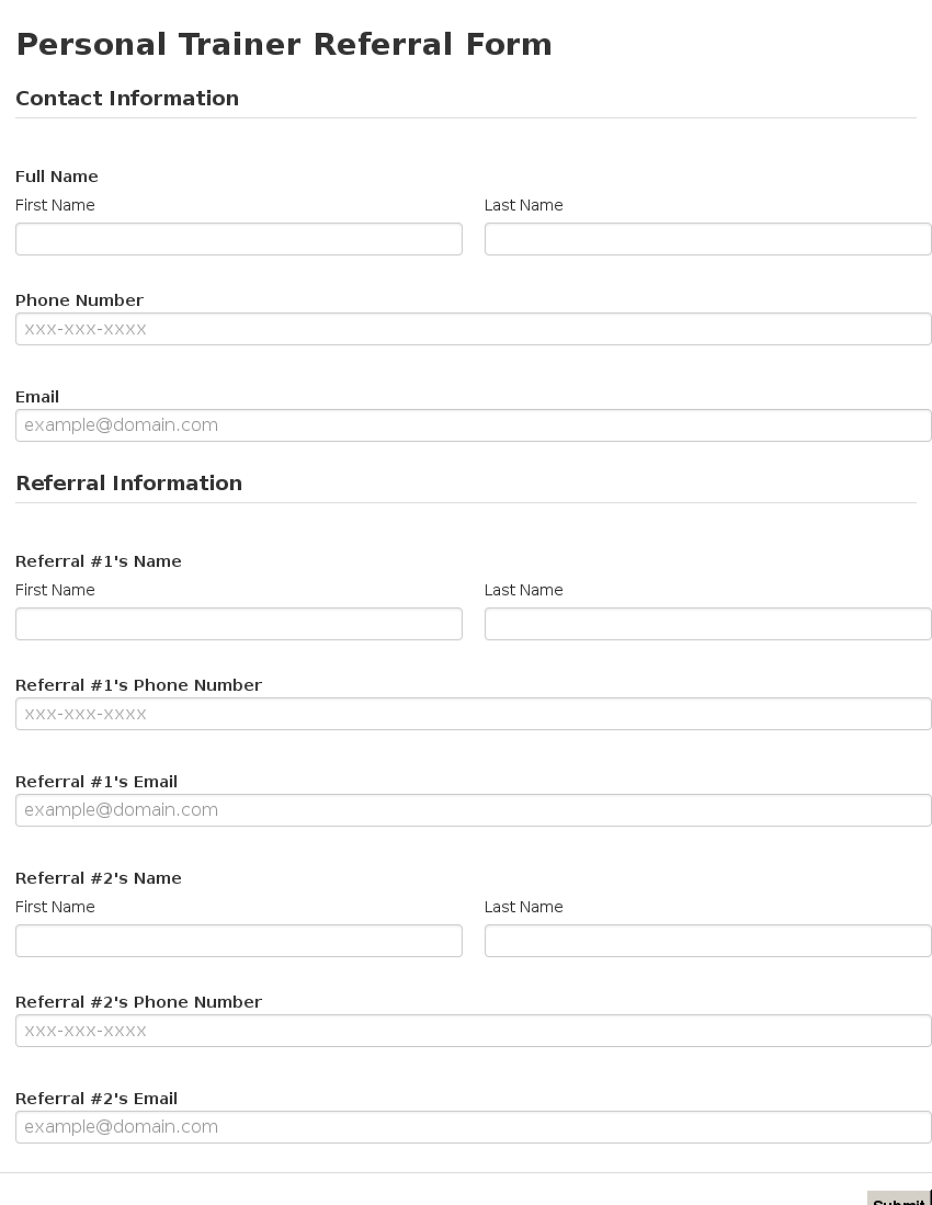 Business form template gallery for Referral document template