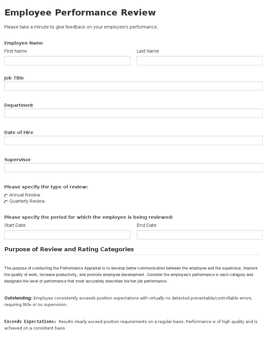 Employee Performance Review Template – Appraisal Document Template