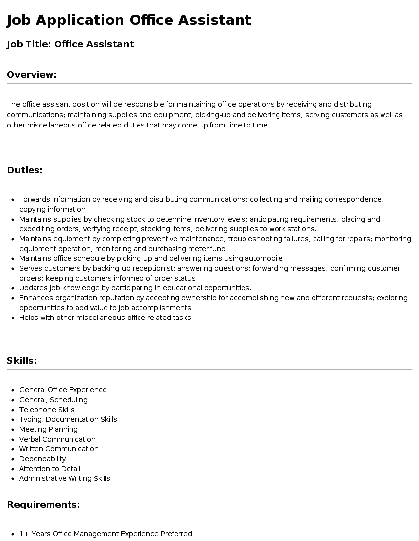 office asst job description template office asst job description