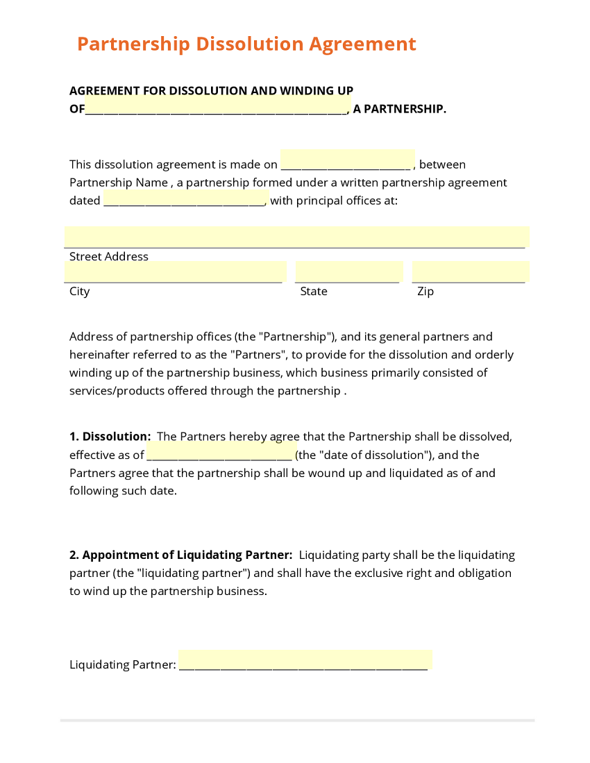 Business dissolution agreement solarfm friedricerecipe Image collections
