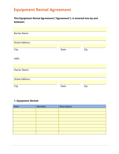 Seamlessdocs for Equipment hire form template
