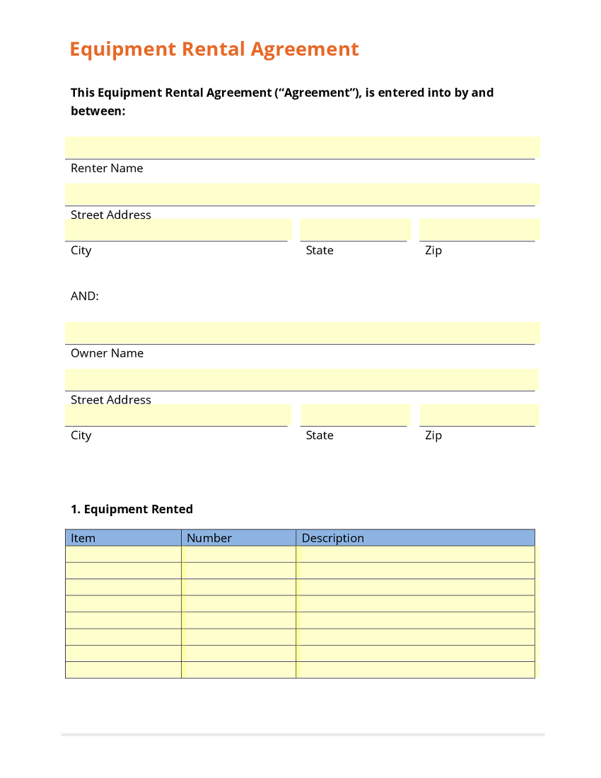Business form template gallery for Equipment hire form template