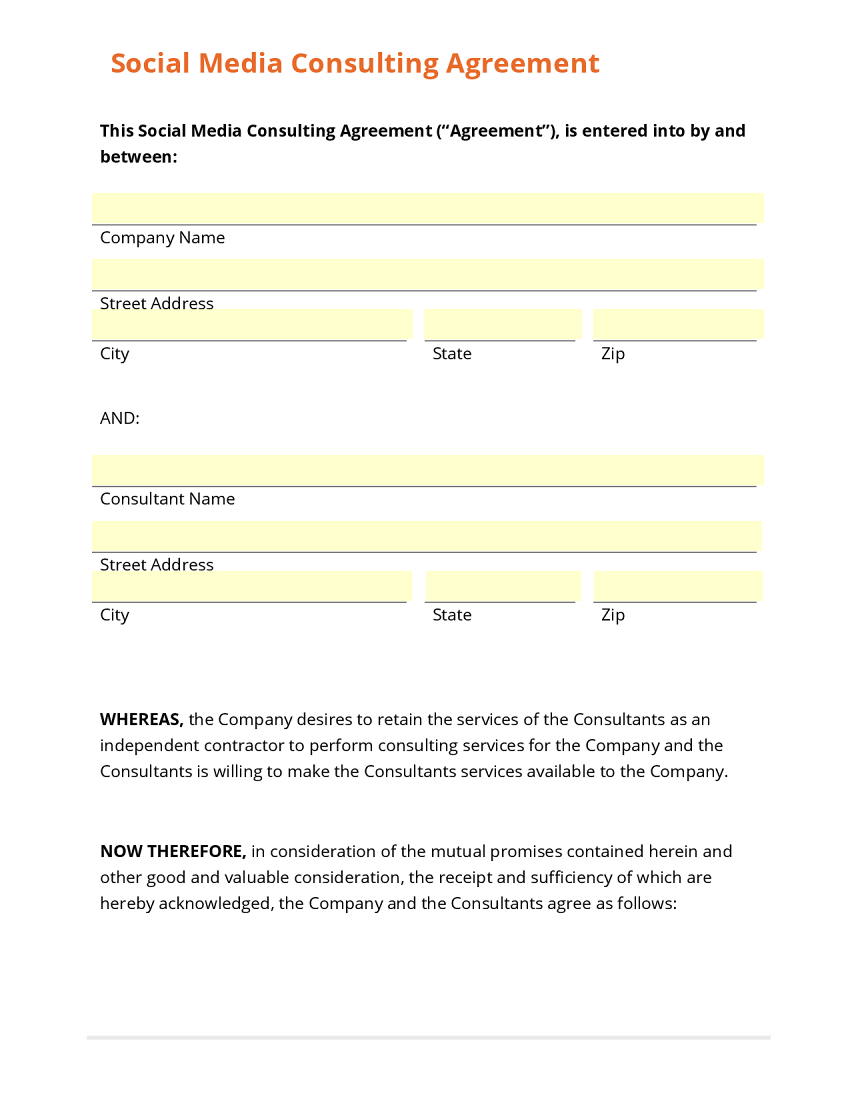 Business form template gallery for Consulting contracts templates