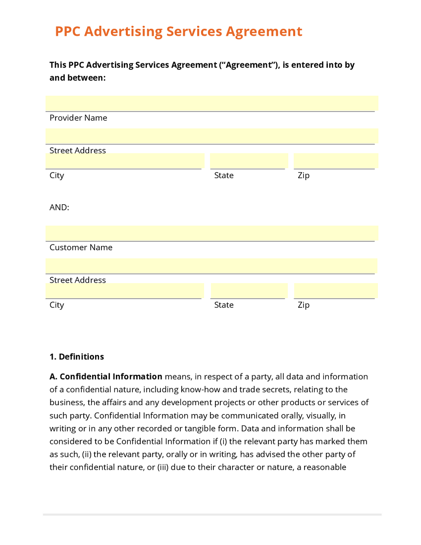 PPC Advertising Services Agreement Template