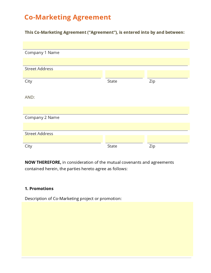 Business form template gallery for Co promotion agreement template