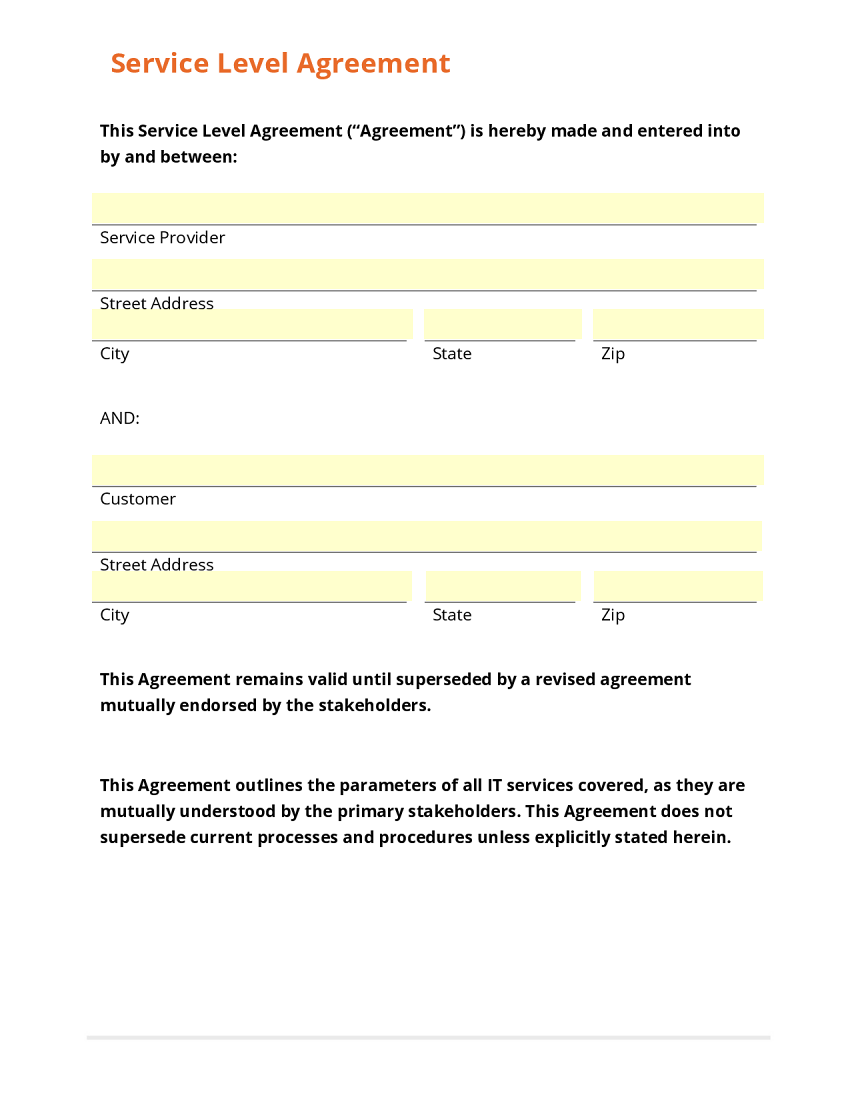 Simple Service Contract Template Zrom