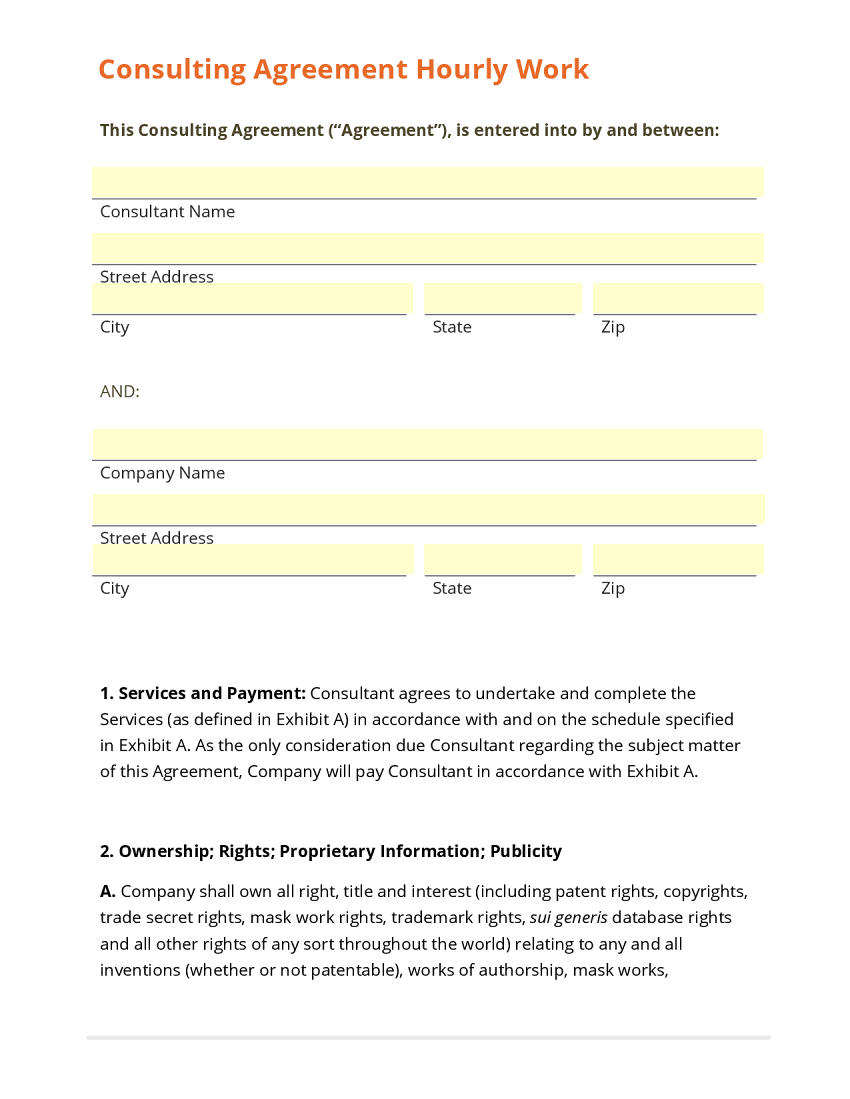 Consulting Agreement Hourly Work Template – Consultant Contract Template