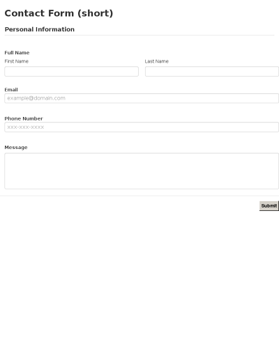 Contact Forms Templates – Contact Information Form Template