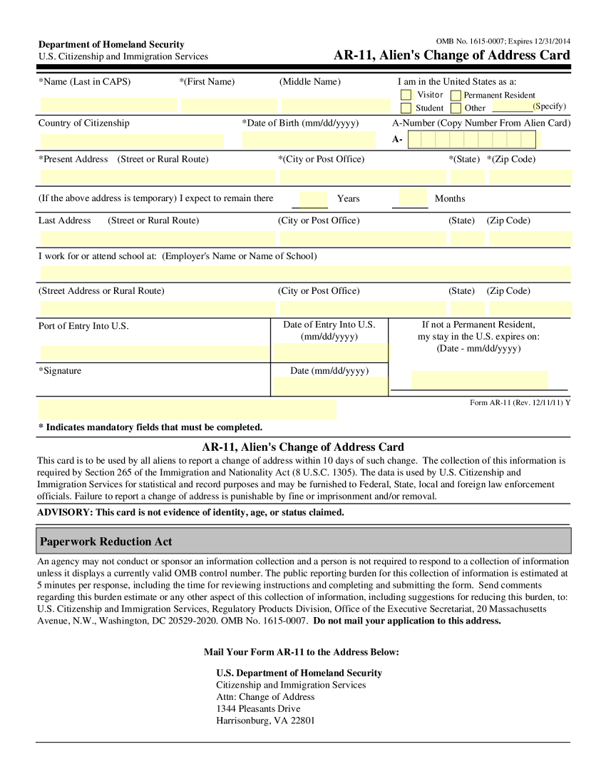 AR11 Change of Address Template – Change of Address Form Template