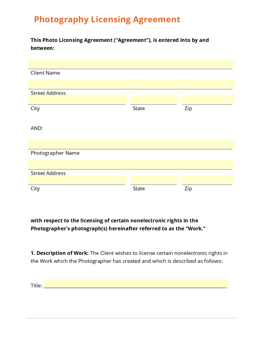 photography licensing agreement template