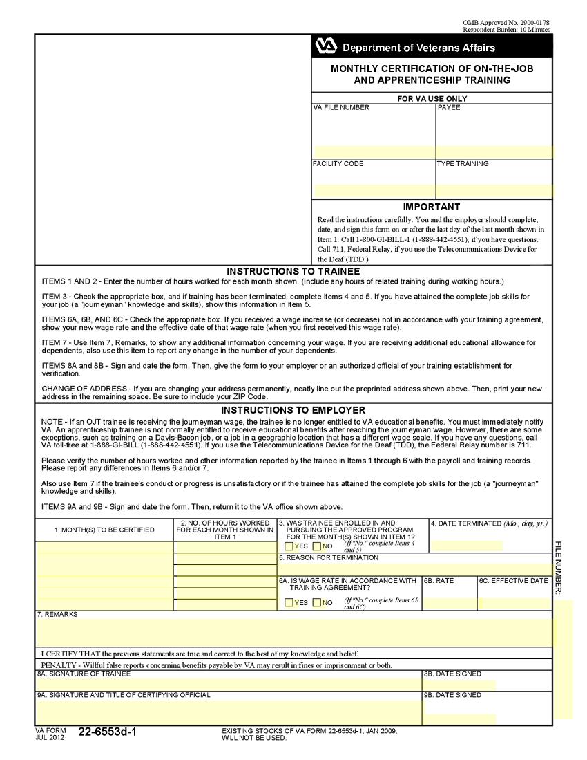 VA Form 22-6553d-1 Template