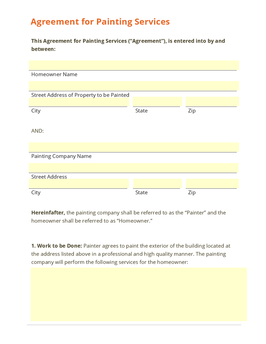 Agreement for Painting Services Template