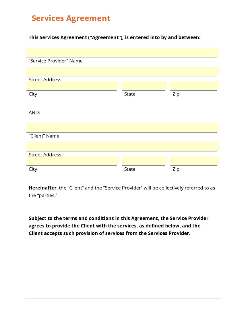 Business form template gallery for Agreement to provide services template