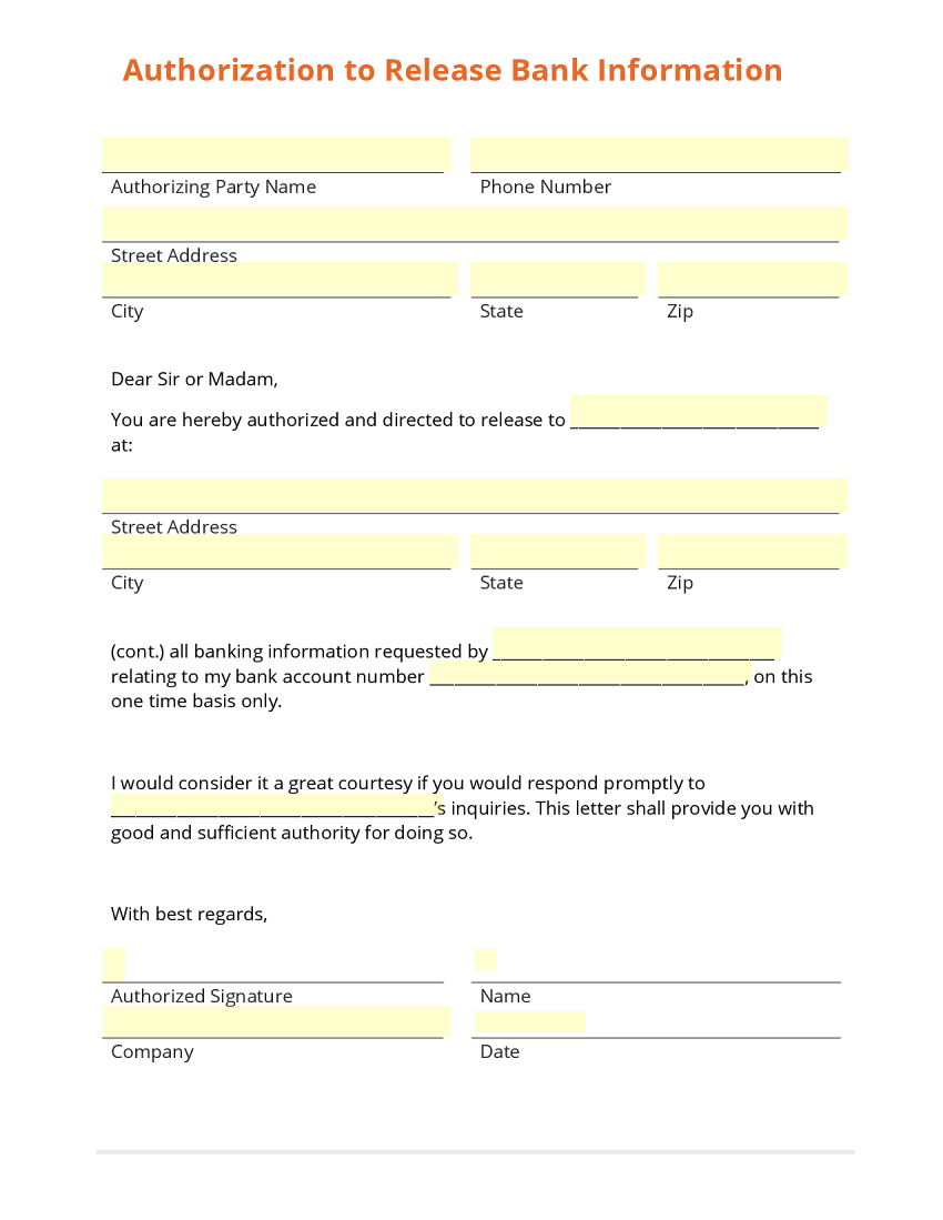 Authorization to Release Bank Information Template – Employee Information Form Sample