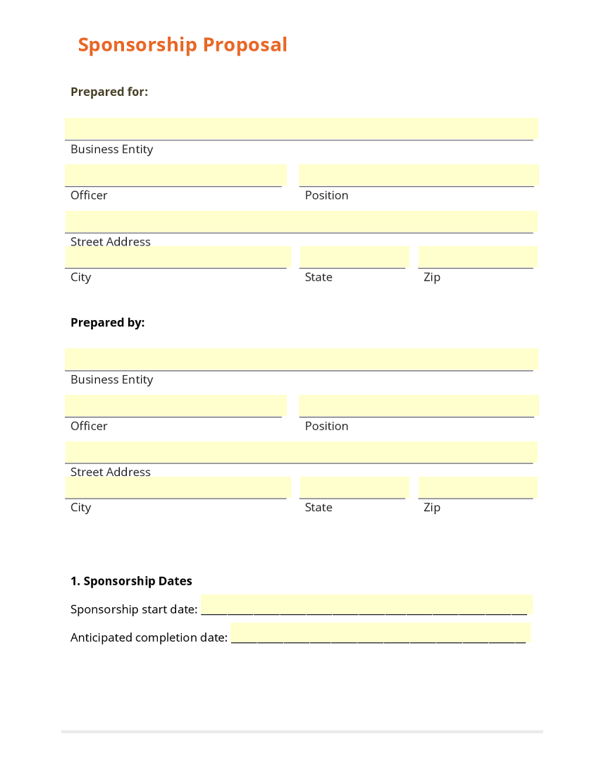 Business form template gallery for Sponsor application template