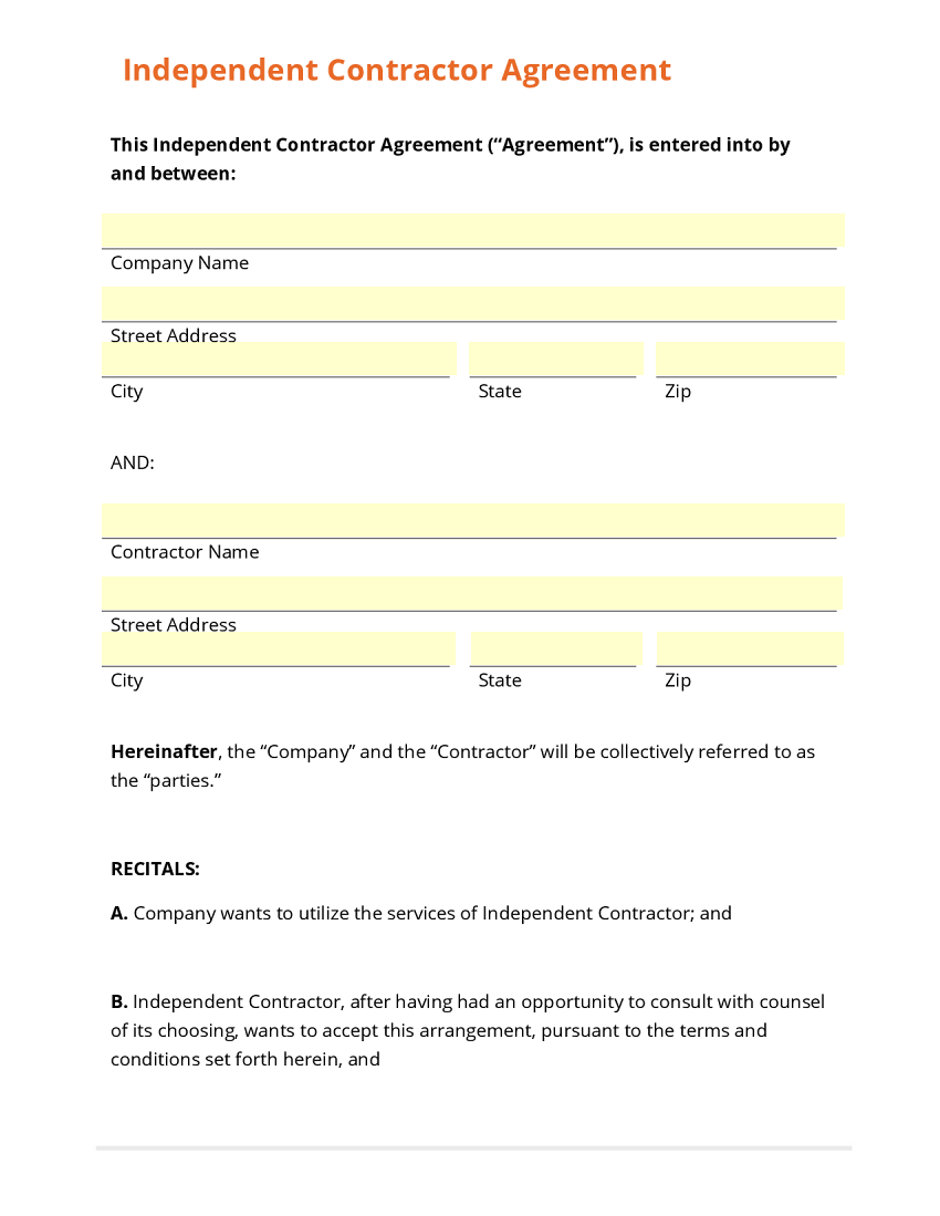 Business form template gallery for Free contractor agreement template