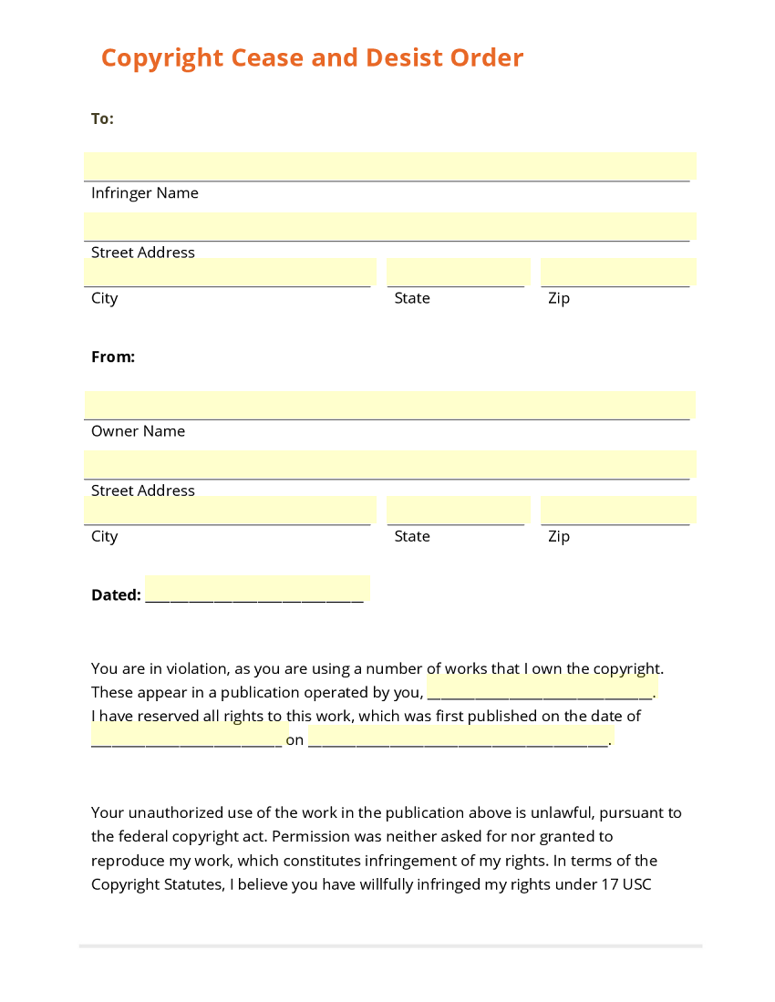 Cease And Desist Template cease and desist template 3 free – Cease and Desist Order Sample