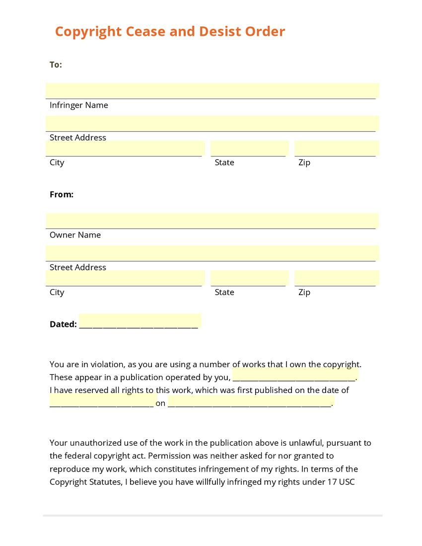 cease and desist order sample – Wages Slip Format