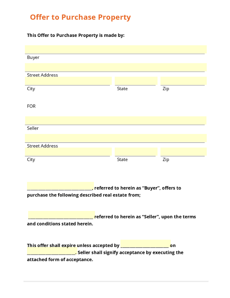 Offer to purchase property letter template 3 ways to for Offer to purchase contract template