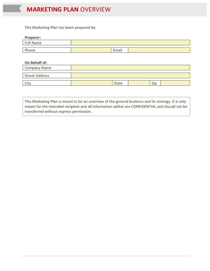 Marketing Plan Overview Template Template