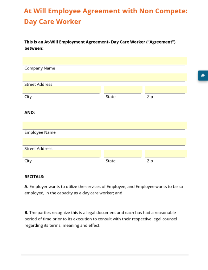 at will employee agreement non compete day care worker template at will employee agreement non compete day care worker