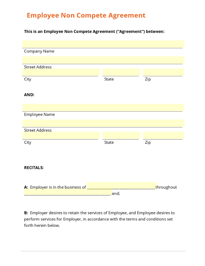 employee agreements collection use template employee non compete agreement