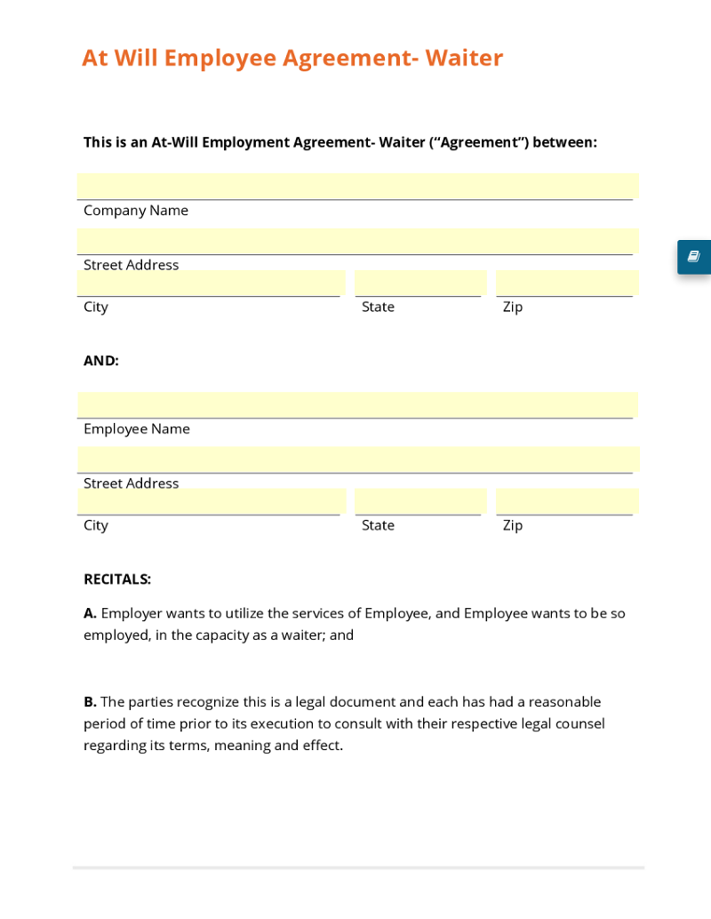 At Will Employee Agreement- Waiter Template