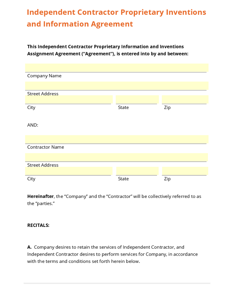 legal templates use template independent contractor proprietary