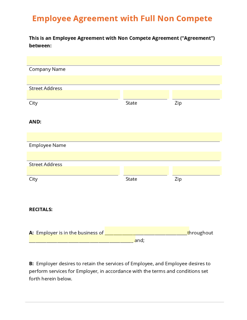 employee agreement full non compete template