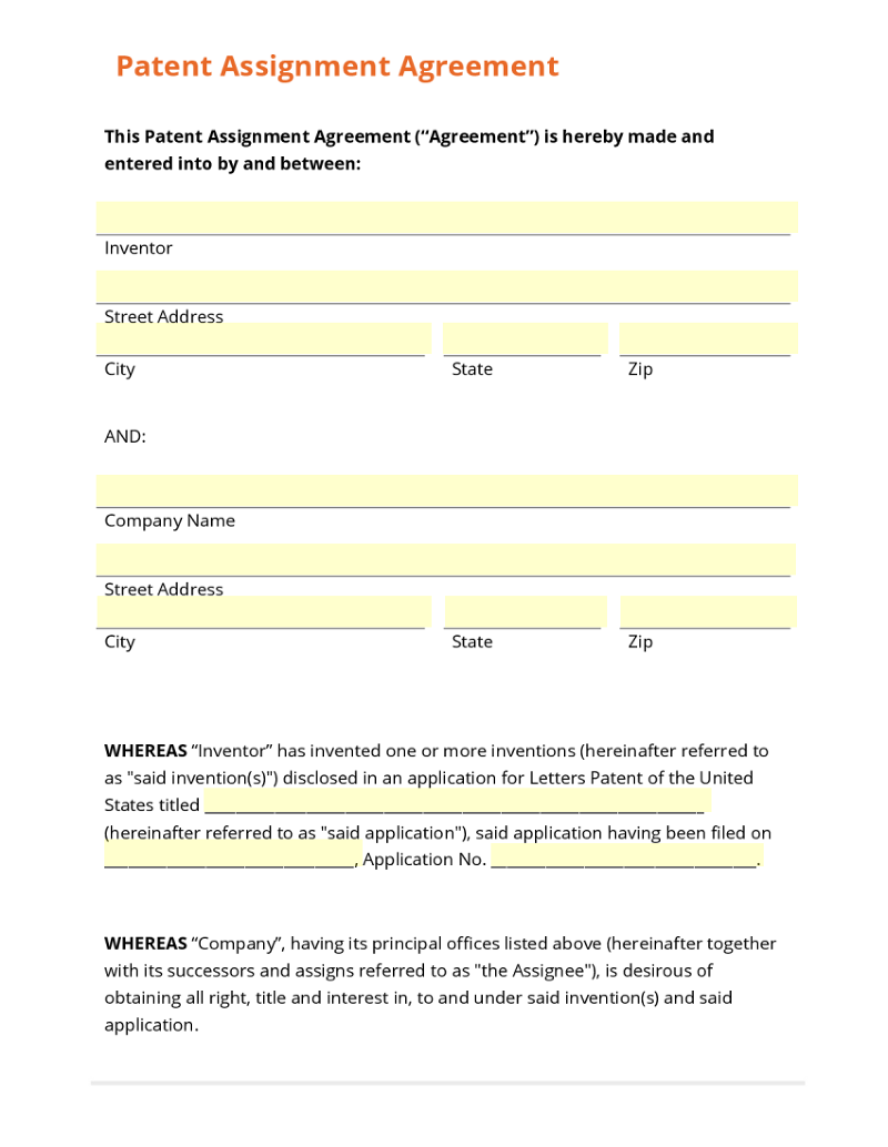 Patent assignment agreement